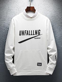Creative Letter Long Sleeve Patchwork Men Sweatshirt