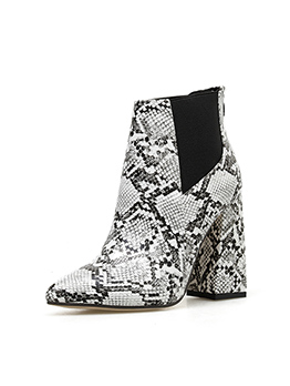 Snake Printed Patchwork Thick High Heel