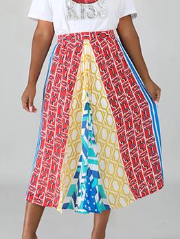 Euro Multicolored Printing High Waist Midi Skirt
