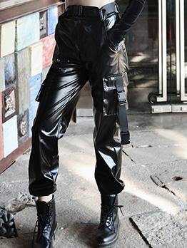 PU Loose Pockets Ruffled Black Cargo Long Pant