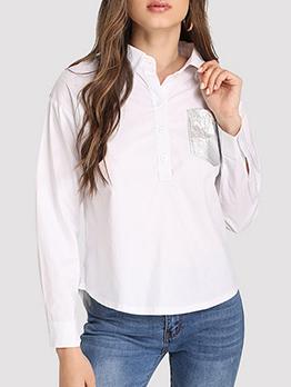 Glitter Pocket Long Sleeve Womens Blouses