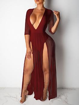 V Neck Gauze Patchwork High Split Maxi Dress