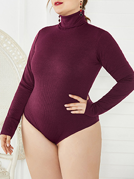 Knitting High Neck Long Sleeve Bodysuits