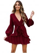 V Neck Ruffled Detail Tie-Wrap Burgundy Dress