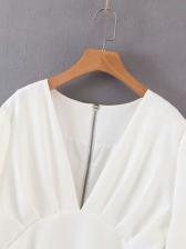 Solid Ruffled Hem Deep v Long Sleeve Dress
