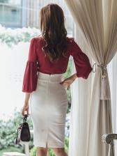 Lantern Sleeve Bow Ladies Dress Suits