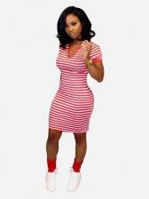 Stylish Striped v Neck Short Sleeve Ladies Dresses