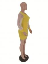 Crew Neck Tied Decor Patchwork Bodycon Dresses