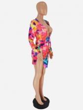 Sexy Split Deep v Printed Long Sleeve Dress