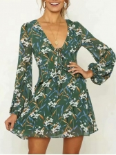 Casual V Neck Flowers Printing Long Sleeve Dress