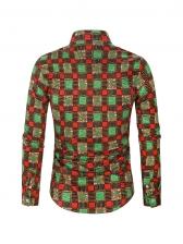 Fashion Contrast Color Plaid Long Sleeve Shirt