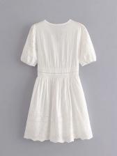 Hollow Out Smart Waist White Short Sleeve Dress