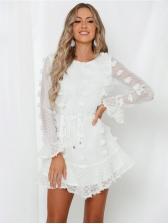 Solid Stereo Tassel Tulle Sleeves Short Dress