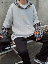 Korean Style Plaid Patchwork Men Cool Hoodies