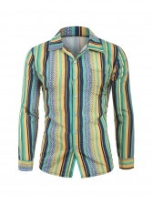 Multicolored Striped Long Sleeve Shirts For Men