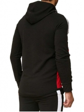 Casual Contrast Color Hooded Collar Men Outerwear