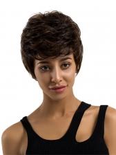 Natural Wave Human Hair Side Bang Female Short Wigs