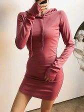Hooded Collar Solid Long Sleeve Dress