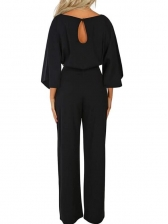 Solid Boat Neck Long Sleeve Jumpsuits For Women