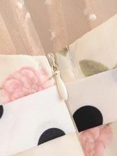 Fashion Design Gauze Panel Floral Tie-Wrap Dress