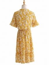 Tie Neck Smart Waist Floral Chiffon Dress