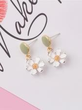 Sweet Style Color Block Flower Earrings