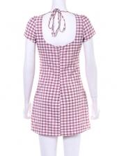 U Neck Backless Puff Sleeve Plaid Short Sleeve Dress