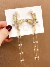 Rhinestone Butterflies Long Tassel Faux-Pearl Earrings