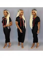 Bow Decor Loose Short Sleeve Maxi Dress