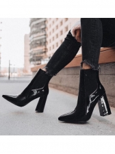 PU Patchwork Chunky High Back Boot