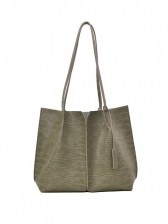 Vintage Alligator Print Tote Bag Set For Women