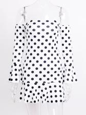 Boat Neck Flare Sleeve Chiffon Polka Dots Dress