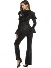 V Neck Sequined Long Sleeve Jumpsuit For Women