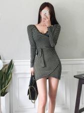 Elegant v Neck Plaid Long Sleeve Dress