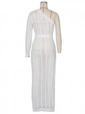 One Shoulder High Split Knitting Maxi Dress