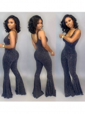 Glitter Hollowing Out Flare Bottom Fitted Jumpsuit