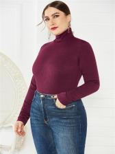 Knitting High Neck Long Sleeve Bodysuits