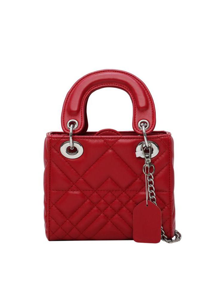 Solid Diamond Pattern Handbags For Women