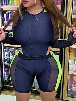 Gauze Patchwork Zipper Up Rompers For Women