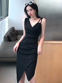 V Neck Fitted Irregular Hem Sleeveless Black Dress