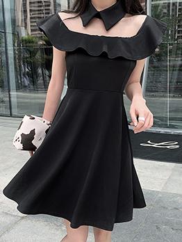 Gauze Panel Fitted Little Black Dress