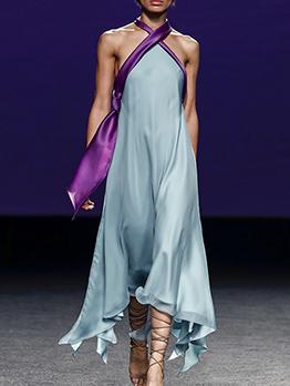 Cross Belt Backless Satin Halter Maxi Dress