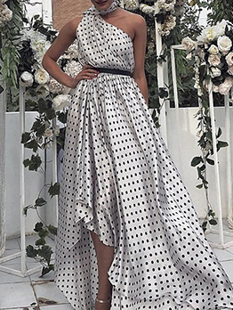 Off Shoulder Fitted Polka Dots Long Dress