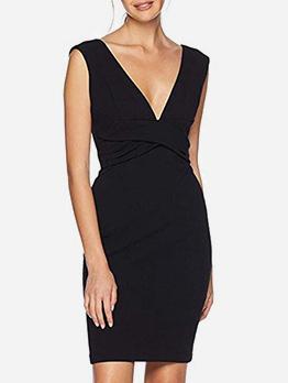 OL Style Deep V Neck Fitted Black Dress