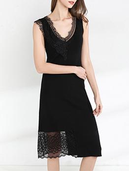 V Neck Lace Patchwork Women Sleeveless Dress