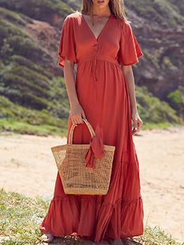 Bohemia Style V Neck Large Hem Maxi Dress