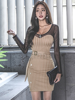 Ol Style Gauze Patchwork Striped Bodycon Dress
