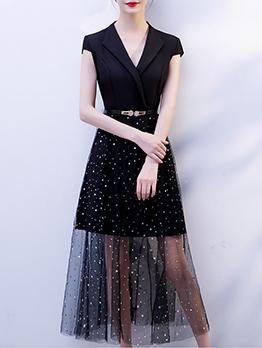 Lapel Star Sequin Tulle Patchwork Midi Dress