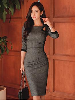 Tie Bow Patchwork Half Sleeve Ladies Slim Dress
