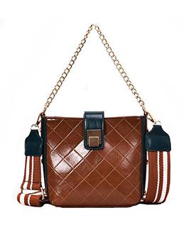 Diamond Pattern Solid PU Shoulder Bag